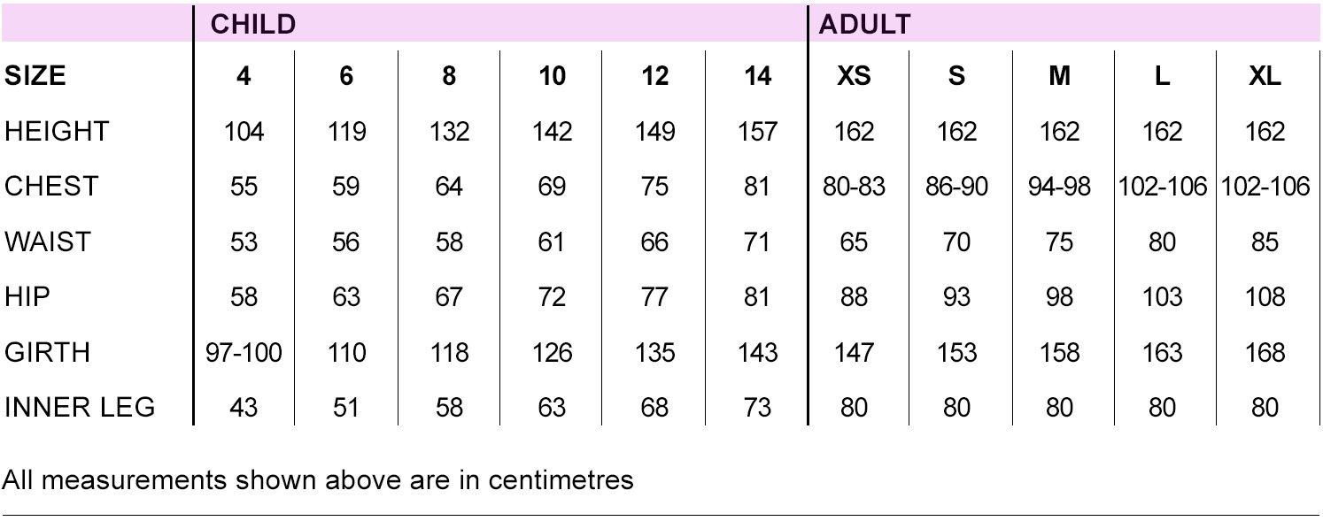 kinetics dance costume size chart