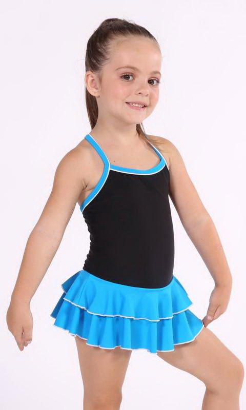 Baby Leo with 2 Layer Skirt KCDC - Black + Azure - 0916 - (Clearly Aqua)