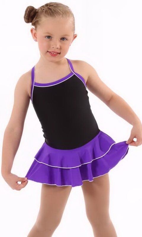Baby Leo with 2 Layer Skirt KCDC - Black + Bright Violet - 1015