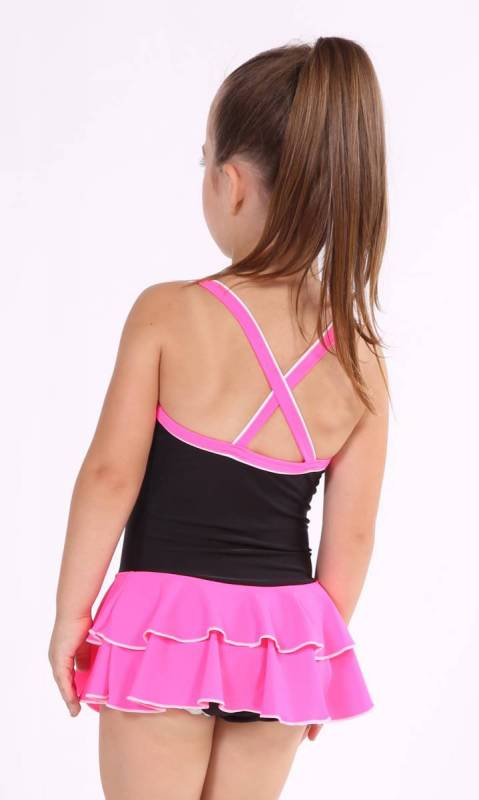 Baby Leo with 2 Layer Skirt KCDC - Black + Shocking Pink