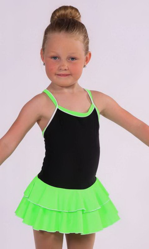 Baby Leo with 2 Layer Skirt KCDC - Black + Acid Green