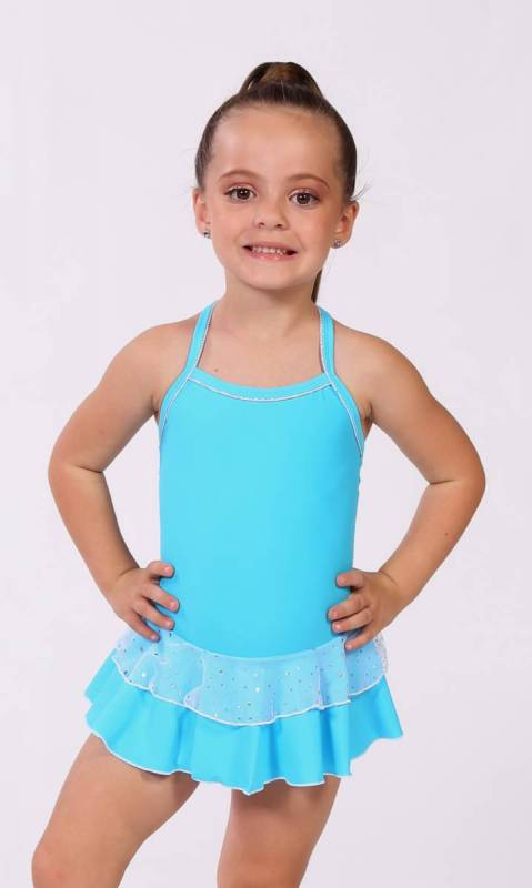 Baby Leo + 2 Layer Skirt - White Sparkle + Nylon - Azure - 0916 - (Clearly Aqua)