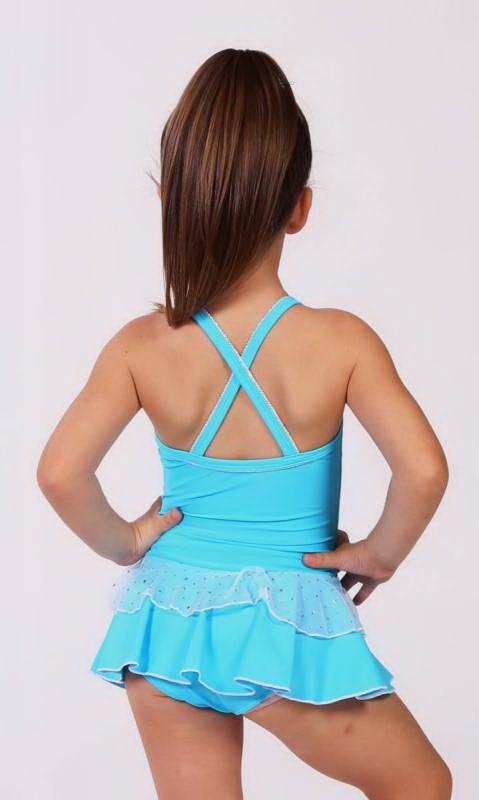 Baby Leo + 2 Layer Skirt - White Sparkle + Nylon - Azure - 0916 - (Clearly Aqua)