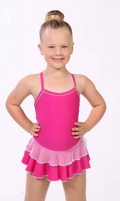 Baby Leo + 2 Layer Skirt - White Sparkle + Nylon - Pink (Beetroot)