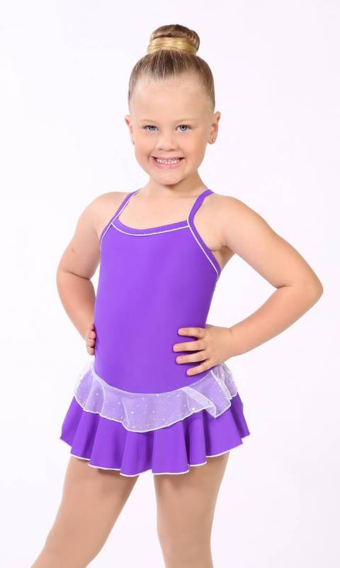 Baby Leo + 2 Layer Skirt - White Sparkle + Nylon - Violet