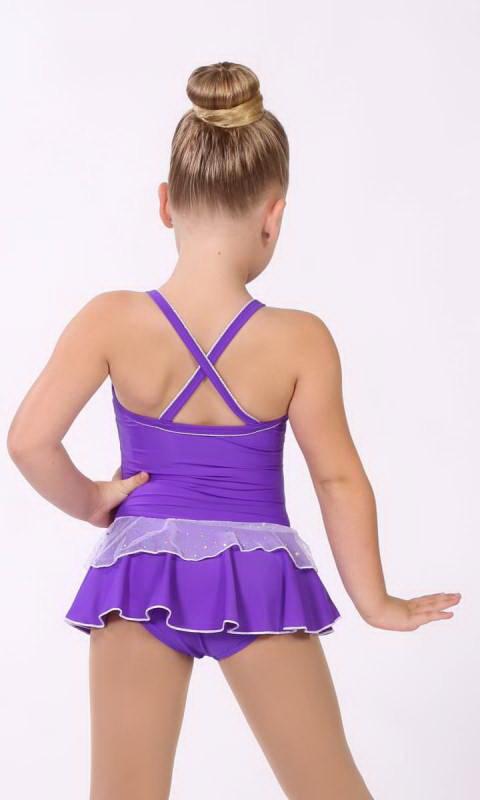 Baby Leo + 2 Layer Skirt - White Sparkle + Nylon - Violet