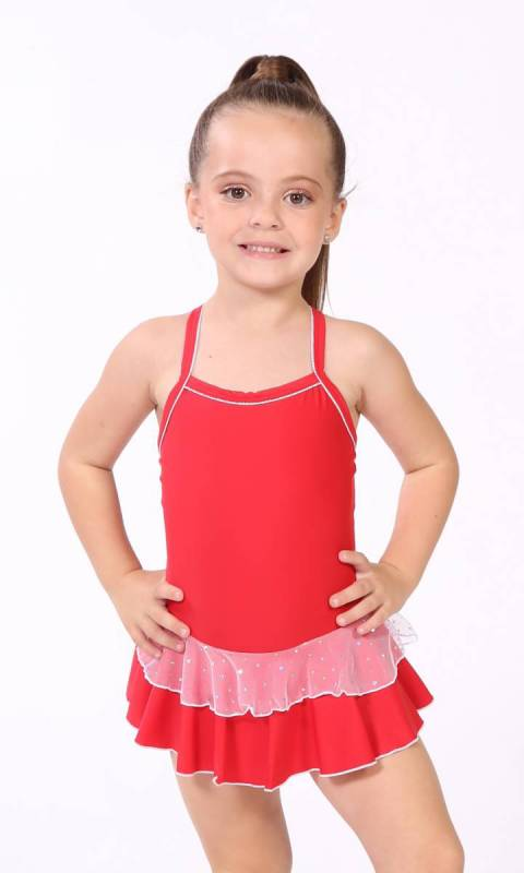 Baby Leo + 2 Layer Skirt - White Sparkle + Dance Studio Uniform