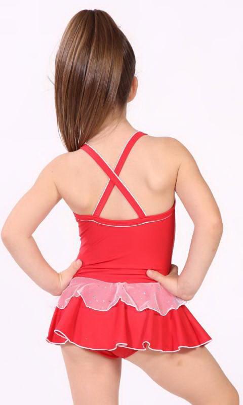 Baby Leo + 2 Layer Skirt - White Sparkle + Nylon - Red