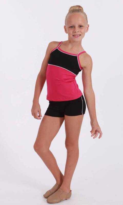 CLASSIQUE TOP - Supplex Fuschia  Black and White