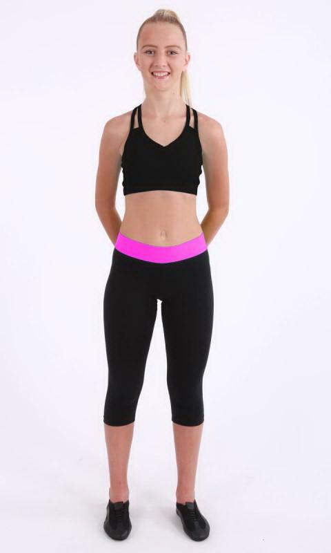 Black + Hot Pink Cotton Lycra
