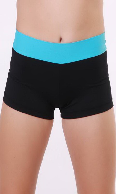 MADDISON Hot Shorts- Black with contrast band - Black + Clearly Aqua
