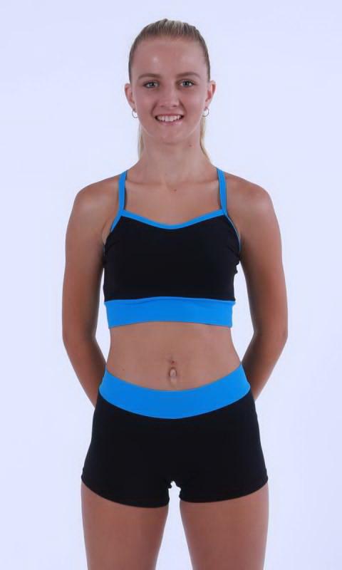 MADDISON Hot Shorts - Black contrast band - Black + Electric Blue Supplex