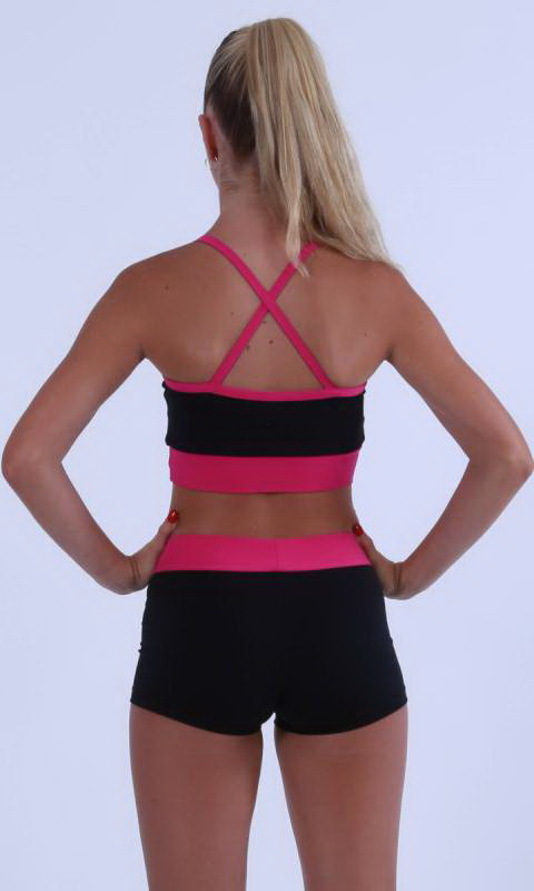MADDISON Hot Shorts- Black with contrast band - Black + Fuchsia
