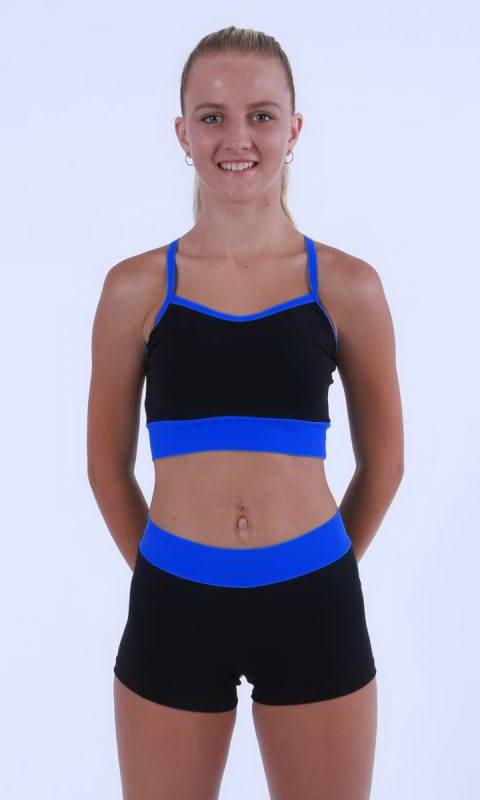 MADDISON Hot Shorts - Black contrast band - Black + Bondi Blue