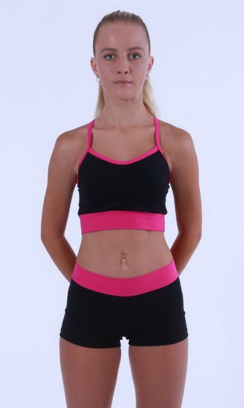 MADDISON Hot Shorts - Black contrast band - Black + Hot Pink Cotton Lycra