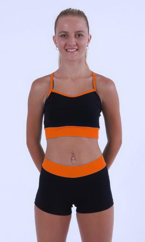 MADDISON Hot Shorts - Black contrast band - Black + Kinetic Orange