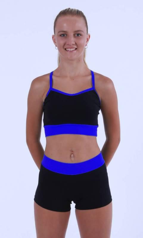 MADDISON Hot Shorts - Black contrast band - Black+ Galaxy Blue