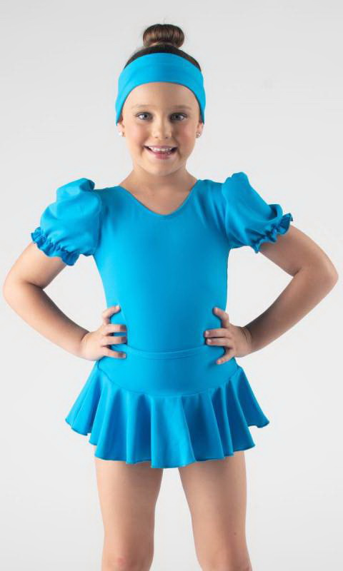 MADDISON Frill Skirt - Electric Blue pictured with puff sleeve leotard which is sold separately