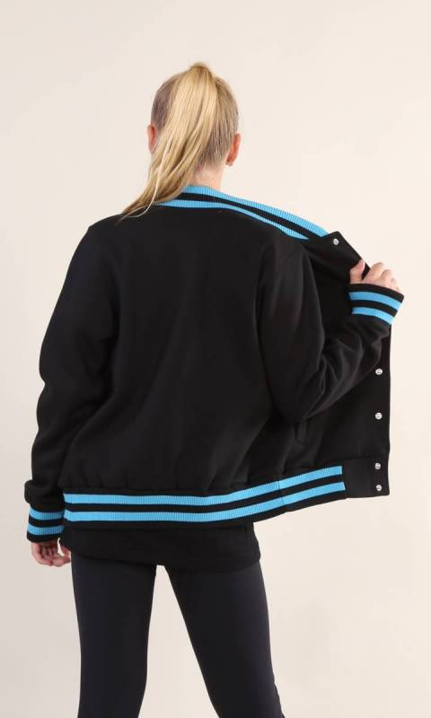 VARSITY JACKET - KC HR - Black + Aqua2098