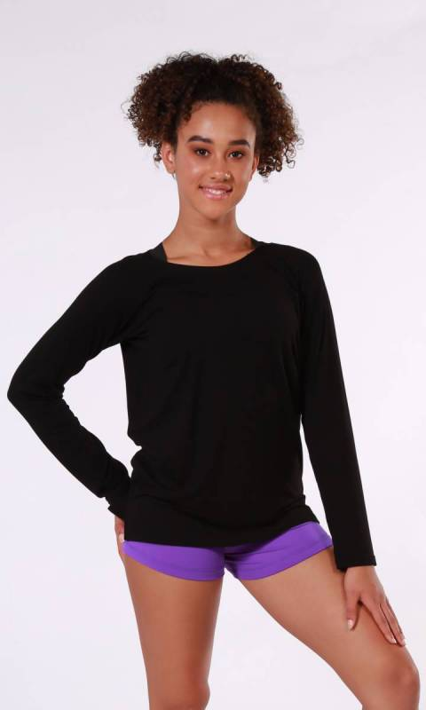 Bonnie Long Sleeve Top - Black Rayon Spandex