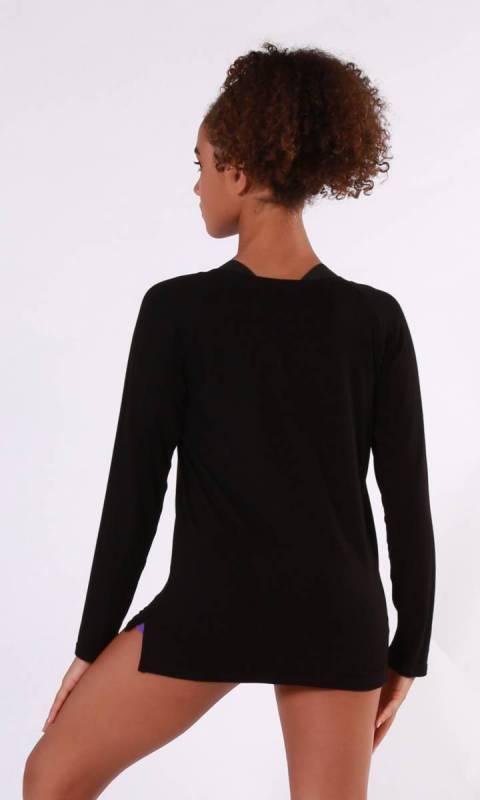 Bonnie Long Sleeve Top - Black Rayon Spandex