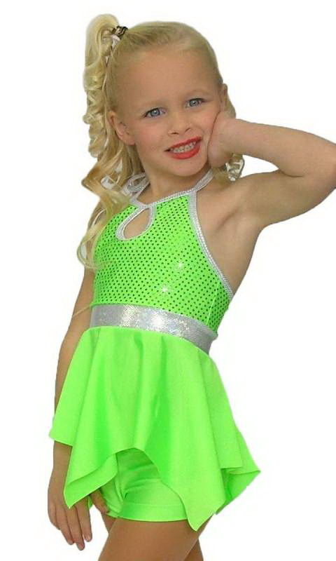 HANKY PANKY - Fluro Green sequin lycra with plain fluro green lyrca  with silver shattered glass trim