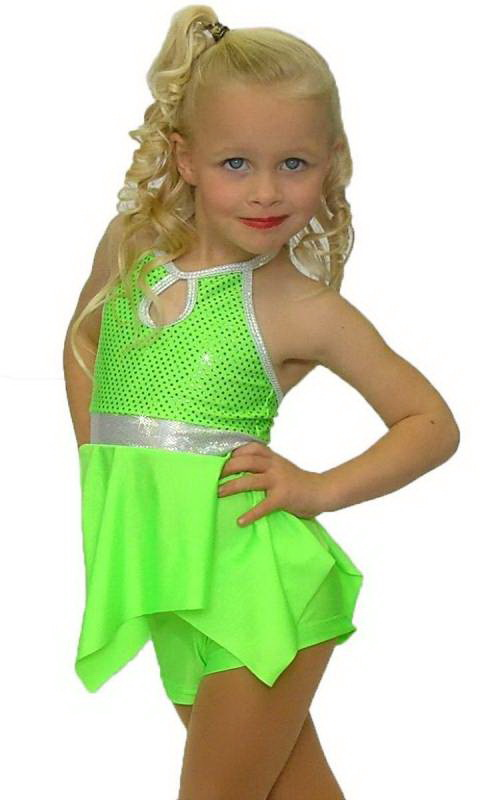 Fluro Green sequin lycra with plain fluro green lyrca  with silver shattered glass trim