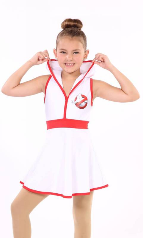 White cotton lycra and red trim