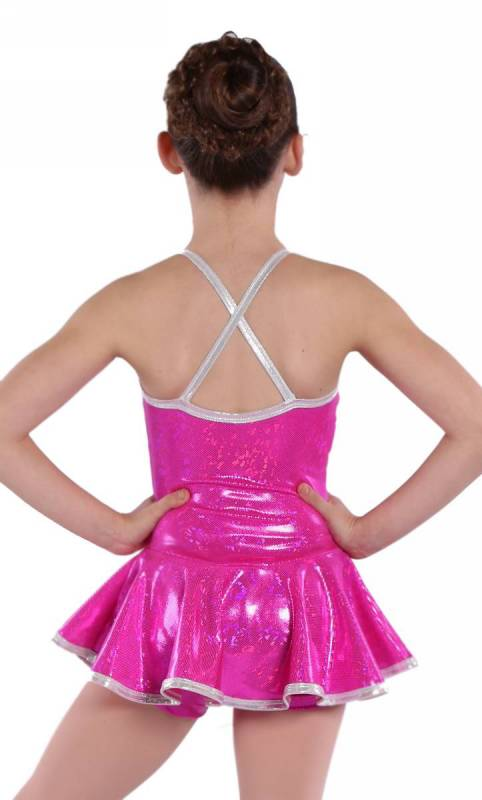 SKATER DRESS - Hot Pink Shattered Glass and Silver Fog