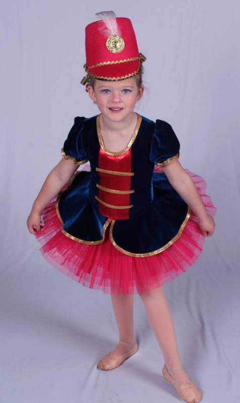Marching girl tutu topper - Blue red and gold