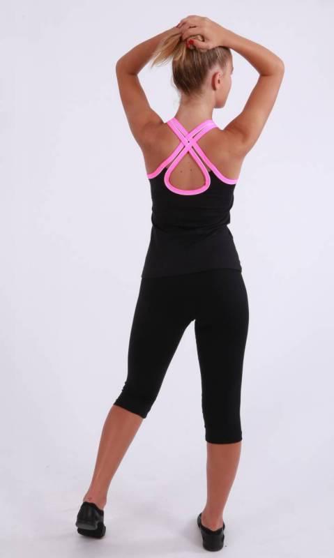 HAYLEY CAMI TOP - Black supplex and neon pink