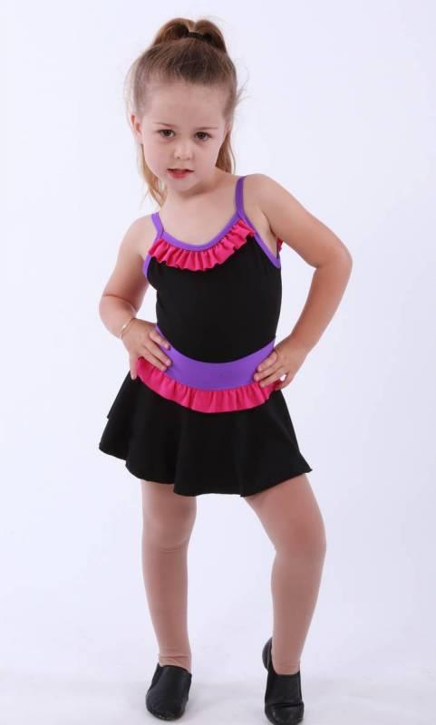 ZARLY frill skirt - Black Supplex  Paradise Pink Frill and Congo Band