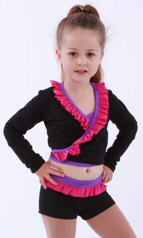 ZARLY - Frill Crossover top - Black Supplex with Paradise Pink frill and Congo Binding