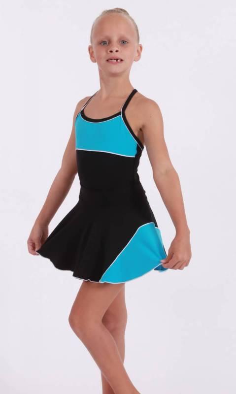 CLASSIQUE panel skirt - Supplex Black, aqua and white