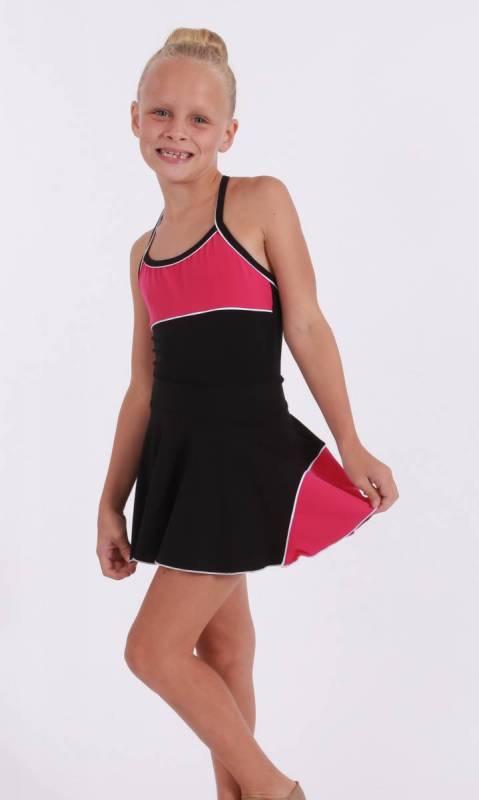 CLASSIQUE panel skirt - Supplex Black, fuschia and white
