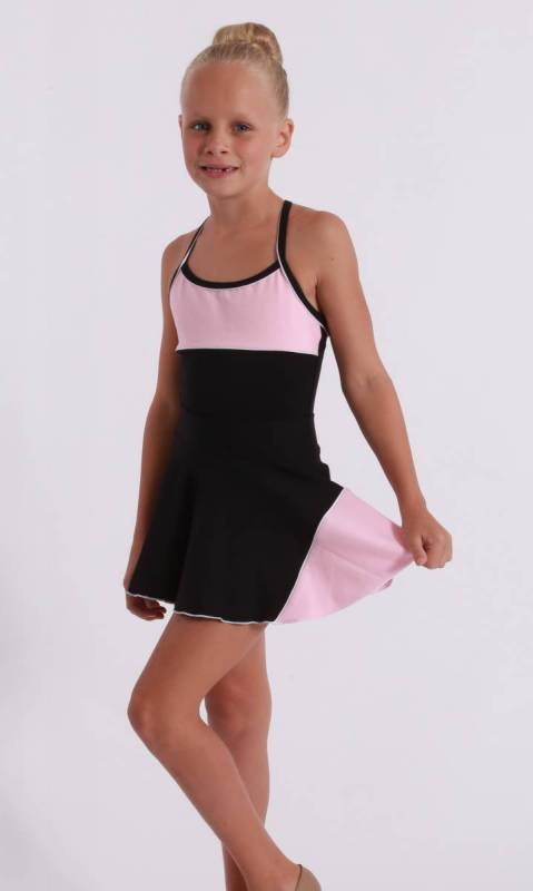 CLASSIQUE panel skirt - Supplex Black, Ballet Pink and white