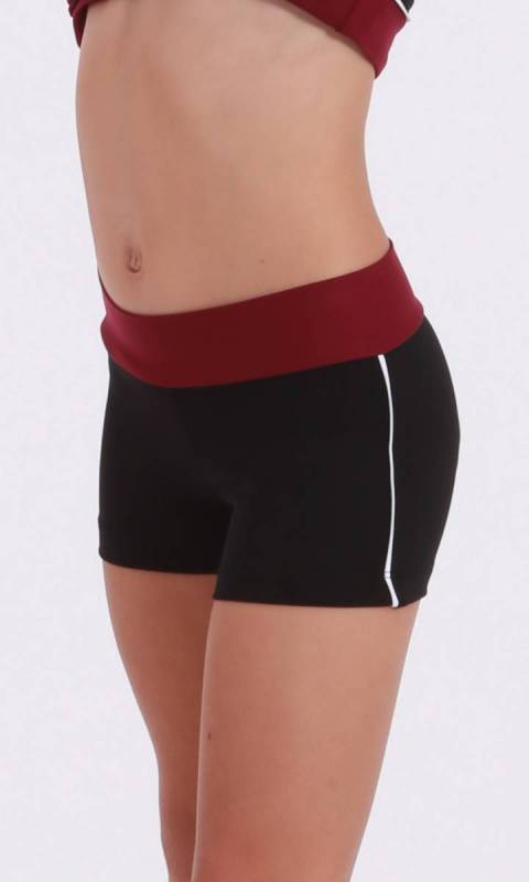 CLASSIQUE shorts - Supplex Black and Burgundy white pipe