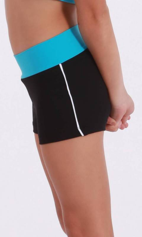 CLASSIQUE shorts - Supplex Black  Aqua and White
