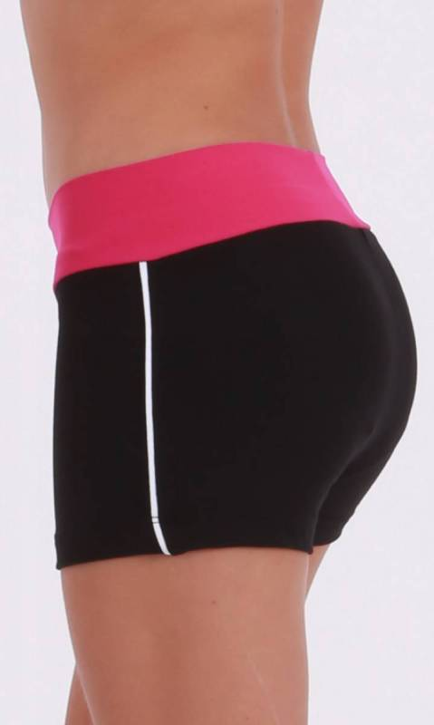 CLASSIQUE shorts - Supplex Black Fuschia and white