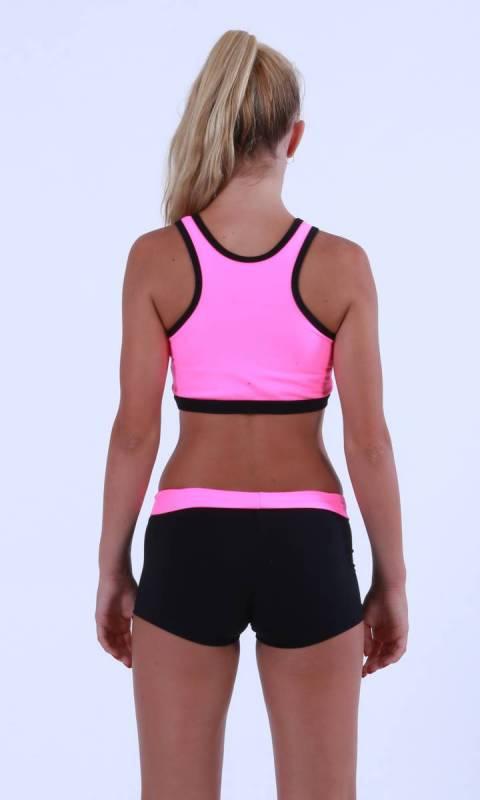 REBEL - Crop Top - Neon Pink Supplex with Black contrast