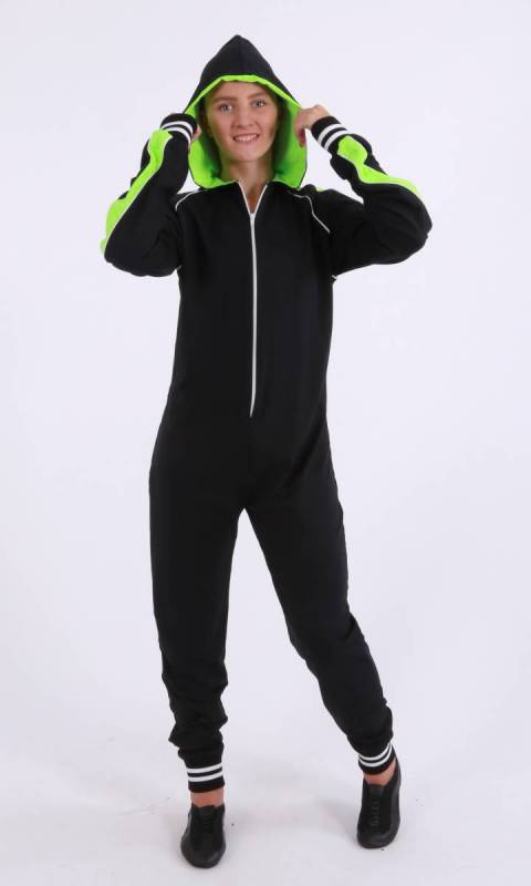 Kristi Stretch Onesey -  zip jumpsuit - Supplex Black, Neon Green and white Striped Bands