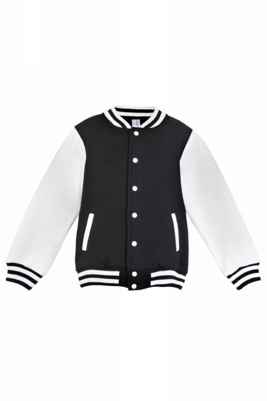 Varsity KIDS Jacket + Studs - Black + White STOCK