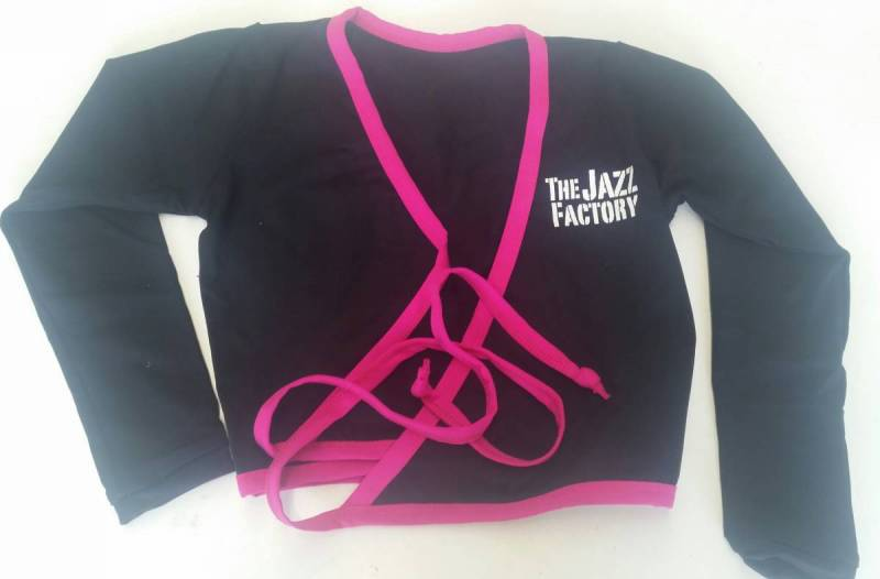 Top - Uniform - Crossover top pipe and bind - Black + Paradise Pink