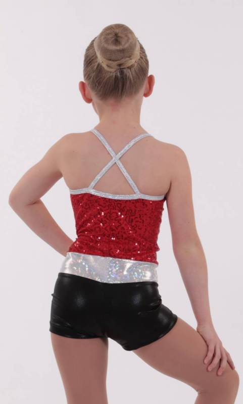 DAZZLE SPIN SHORTARD - Red zsa zsa black fog and silver shattered