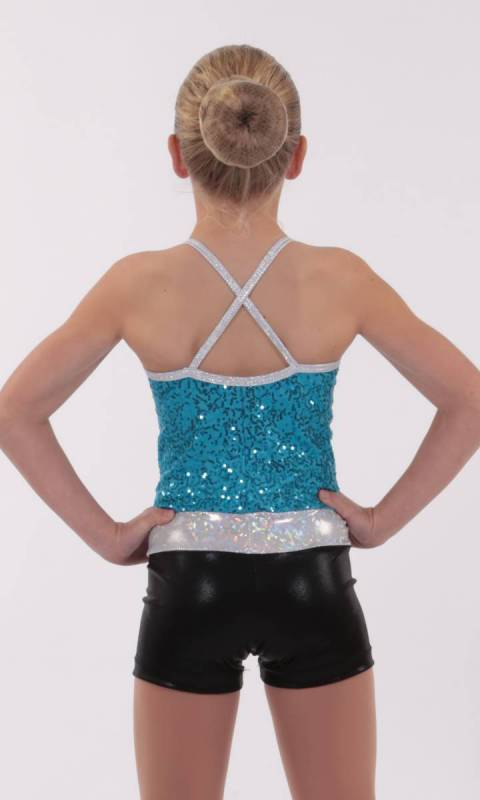 DAZZLE SPIN SHORTARD - Aqua black and silver