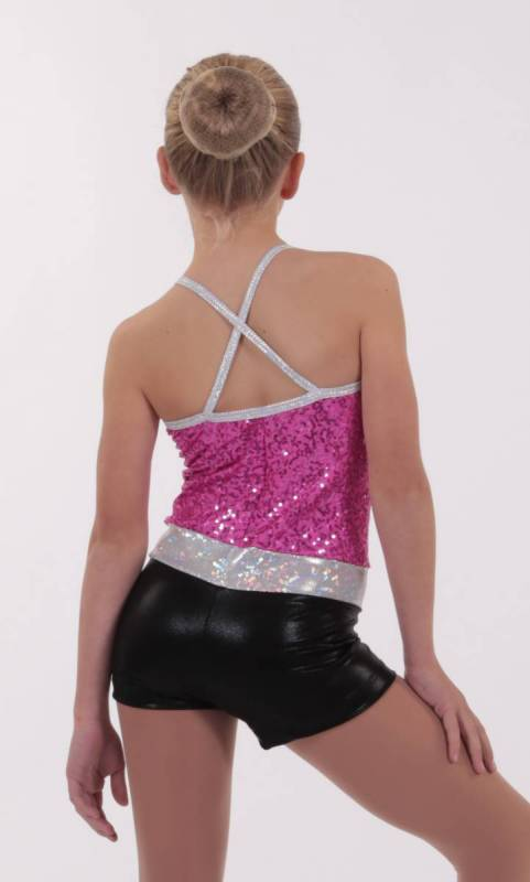 DAZZLE SPIN SHORTARD - Fuchsia Black and Silver