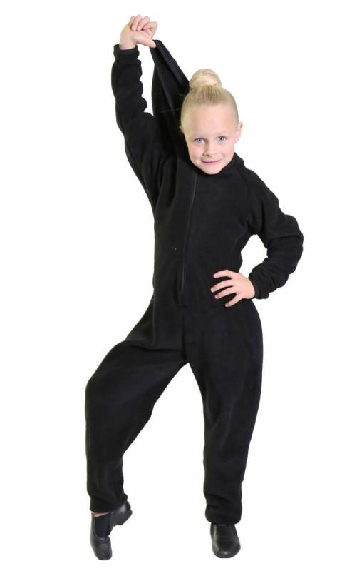 Onesey - all in one zip up jumpsuit - Black Polar fleece all in one zip up jumpsuit