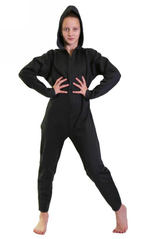 Basic Onesey - all in one zip up jumpsuit - Polar Fleece Black