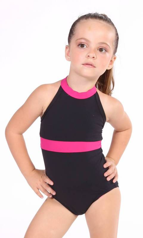 Parker Leotard - Black + Fuchsia