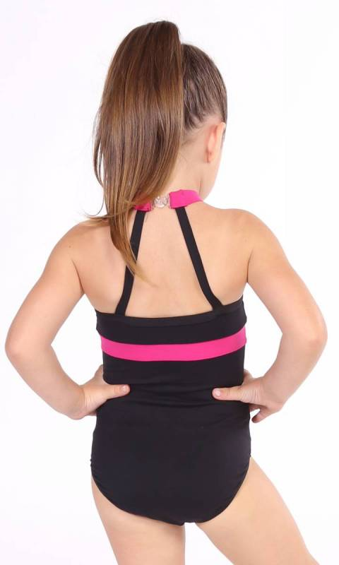 Parker Leotard - Black + Fuchsia Supplex